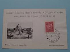 Citta Del VATICANO 12 Marzo 1940 ( Bollo Primo Giorno D'Emissione / Zie/voir Foto's Voor Details ) - Vaticaanstad
