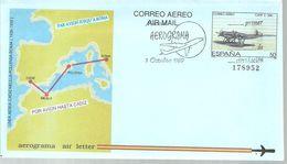 AEROGRAMME ESPAÑA 1989 - Airplanes