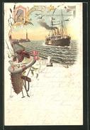 Lithographie Postdampfer Nach Dänemark - Dampfer