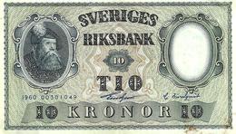 SWEDEN 10 KRONOR BLUE MAN  FRONT MOTIF BACK DATED 1959 P43g AUNC READ DESCRIPTION !! - Sweden