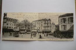 CPA ALGERIE ORAN. Place Kléber. CARTE PANORAMA. Carte Très Animée, Commerces, Attelages. 1908. - Oran