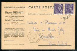 France - Carte Commerciale De Carentan Pour Rouelles En 1941  - Ref D101 - Postmark Collection (Covers)