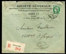 France - Type Cérès Perforé SG Sur Enveloppe Commerciale En Recommandé De Paris En 1939 - Ref D109 - France