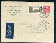 France - Enveloppe Commerciale Par Avion De Paris Pour La Tchécoslovaquie En 1949 - Ref D128 - Marcophilie (Lettres)