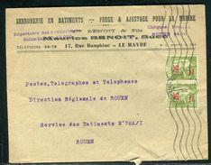 France - Enveloppe Commerciale Du Havre Pour Rouen En 1941 - Ref D130 - Postmark Collection (Covers)