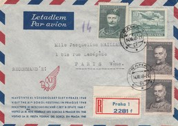 Tchécoslovaquie Lettre Recommandée Avion PRAHA 14/7/1948 Pour Paris France - Czechoslovakia