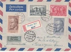 Tchécoslovaquie Lettre Recommandée Avion PRAHA 6/1/1951 Pour Sens France - Recto Verso - Tchécoslovaquie