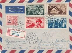 Tchécoslovaquie Lettre Recommandée Avion PRAHA  23/5/1950  Pour Sens France - Recto Verso - Czechoslovakia