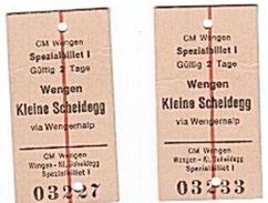 WENGEN - KLEINE SCHEIDEGG - 1980 - TICKET - TRAIN - BILLET - - Chemin De Fer