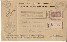 """BLOCUS De DJIBOUTI - 1942 - LETTRE RECOMMANDEE JOURNEE PHILA SECOURS NATIONAL """"AU SERVICE DU MARECHAL"""" => MARSEILLE - Côte Française Des Somalis (1894-1967)"""
