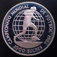 """ECUADOR 1000 SUCRES 1986 SILVER PROOF """"Championship Soccer"""" Free Shipping Via Registered Air Mail - Ecuador"""