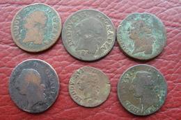 Lot De 6 Monnaies Sol Et Liard - 987-1789 Monnaies Royales