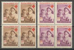 Yugoslavia,Red Cross 1949.,blocks Of Four,MNH - Unused Stamps