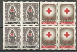 Yugoslavia,Red Cross 1952.,blocks Of Four,MNH - Unused Stamps