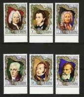 392 - Ras Al Khaima MNH ** Mi N° 586 / 591 A  Musique (music) Compositeurs (composers) Vivaldi Chopin - Bach Brahms - Ra's Al-Chaima