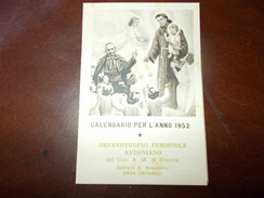 A76 Calendario Anno 1952 Oria Brindisi Cm10,5x7 - Calendars