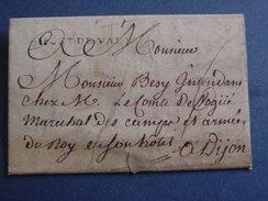AIN-Lettre De Montiernoz:marque PONT DE VAUX Pour Dijon,chez M.le Comte De Vogüe Maréchal Des Camps Et Armées Du Roy - 1701-1800: Precursors XVIII