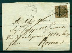 Etats Pontificaux 1852/64 - Y & T. N. 4 B - Armoiries 3 Baj. Sur Lettre - Etats Pontificaux