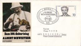 Duitsland - FDC 15-1-1975 - 100. Geburtstag Von Dr. Albert Schweitzer - Michel 830 - Albert Schweitzer