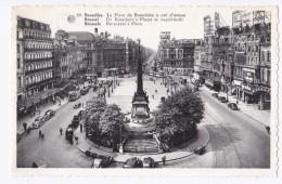 AL42 Bruxelles Brussel, La Place De Brouckere - Animated, Trams, Vintage Cars, Shops - Marktpleinen, Pleinen