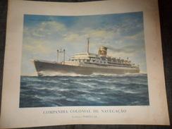 ANC. LITHO /  PAQUEBOT SANTA MARIA / COMP.COL.DE NAVEGACAO  LISBOA / PORTUGAL / 1955 - Nautique & Maritime