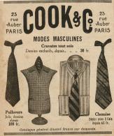Ancienne Publicite (1926) : COOK & CIE, Modes Masculines, Cravate, Chemise, Pullovers, Vêtements... - Advertising
