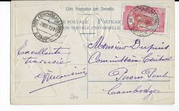 SOMALIS - 1919 - SUPERBE CARTE GAUFREE (VOIR DOS) VOYAGEE De DJIBOUTI => PNOM PENH (CAMBODGE) - DESTINATION ! - Côte Française Des Somalis (1894-1967)