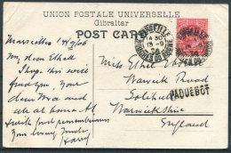 1906 Gibraltar Postcard - Solihull, England Via Marseille, France PAQUEBOT - Gibraltar
