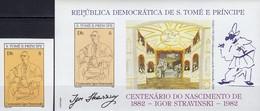 Karrikatur Von Picasso 1982 Thomas/Prinzen-Insel 773+ Block 96 B ** 68€ Strawinski Bloc Music Sheet Art Bf Sao Tome - Sao Tome Et Principe