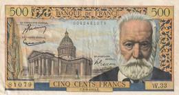 Billet 500 Francs Victor Hugo Du 2 9 1954 TTB+ - 1871-1952 Antichi Franchi Circolanti Nel XX Secolo