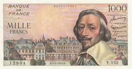 Billet De 1000 Francs Richelieu Du 5 5 1955 Spl Juste épinglage BDF - 1871-1952 Anciens Francs Circulés Au XXème