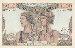 Billet De 5000 Francs Terre Et Mer  Du 2 10 1952 état Sup 4 Trous Un Pli Central - 1871-1952 Gedurende De XXste In Omloop