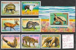 Animaux Divers Cerf Lama Tatou Tortue - Guinée équatoriale N°111 (5v), PA N°95 (2v) & BF 1977 ** - Stamps