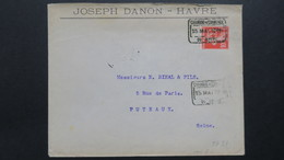 Lettre A En Tête Joseph Danon Le Havre Perforé JD 31 Obl. Chambre De Commerce 15 Mai 1909 Greve Des Postier - Perforés