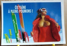 PIN UP FEMME DEMI NUE OXYGENE A PLEINS POUMONS SEINS NUS  SKI PHOTO C. NIKOLSON FEELING SCAN R/V - Pin-Ups