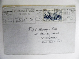 Cover From Morocco Maroc Francaise 1952 Atm Machine Cancel To Australia - Marokko (1891-1956)
