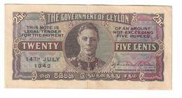 Ceylon 25 Cents 14/07/1942 .J. - Sri Lanka