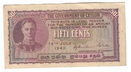 Ceylon 50 Cents 14/07/1942 .J. - Sri Lanka
