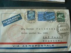 "1934 ... FLY EUROPA SUD AMERICA "" VIA AEROPOSTALE "" WITH POSTAGESTAMPS HIGH VALUE..//..VOLO  X  SUD AMERICA ..VALORE ++ - 1900-44 Victor Emmanuel III."