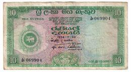Ceylon 10 Rupees 30/07/1956 .J. - Sri Lanka