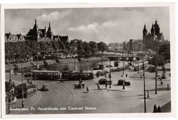 Amsterdam - Pr. Hendrikkade Met Centraal Station - & Tram, Old Cars - Unclassified