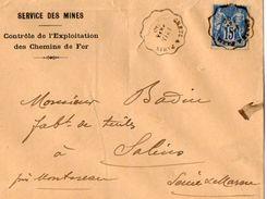 TB 2293 - LSC - Lettre Du Service Des Mines MP Cachet Ambulant GRETZ A PARIS Pour SALINS Via MONTEREAU - Marcophilie (Lettres)