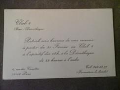 CLUB 4 BAR DISCOTHEQUE 4 RUE DES CANETTES 75002 PARIS - Cartes De Visite