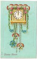 Carte Gaufrée. Horloge. Champignons. Bleuets. Roses. Bonne Année. - Anno Nuovo
