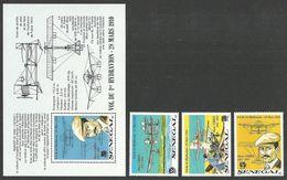 SENEGAL 1989 AIRCRAFT SEAPLANE ANNIVERSARY OF FABRE'S FIRST FLIGHT SET & M/SHEET MNH - Senegal (1960-...)