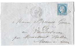 LETTRE   Avec N°60 ; 116 G1 /2 ème état (début Cassure Décalée);   TTB - 1871-1875 Cérès