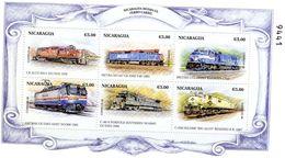 Nicaragua  -  Locomotives Diesel    -  6v MS Neuf/Mint MNH - Treni