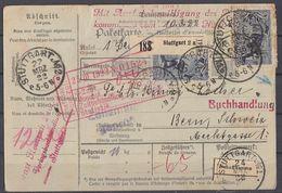 DR Paketkarte Mef Minr.6x 174 Stuttgart 22.3.22 Gel. In Schweiz - Deutschland