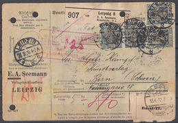DR Paketkarte Mef Minr.16x 104 Leipzig 26.3.20 Gel. In Schweiz Perfins EAS - Deutschland