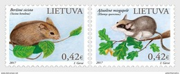 LITHUANIA, 2017, MNH,  THE RED BOOK, RODENTS, 2v - Knaagdieren
